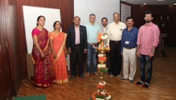 (L-R) Dr.V.Leela & Dr. Anitha N. from PES University, Prof. T. J. Rama Murthy, Director, Dr. G. D. Veerappa Gowda, Subject Expert, Prof. Seshaprasad ECE-Faculty, Prof. C. R. Panduranga Gupta, Vice-Principal, Dr.S. Manjunath, Prof. & Head, Department of Mathematics and Ganesh vaidya, Research scholar, TIFR, Bengaluru during the lamp lighting ceremony