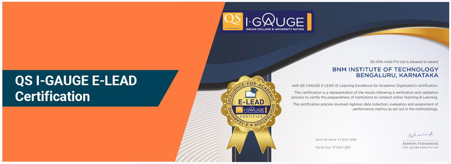 QS I-GAUGE E-LEAD Certification - BNMIT
