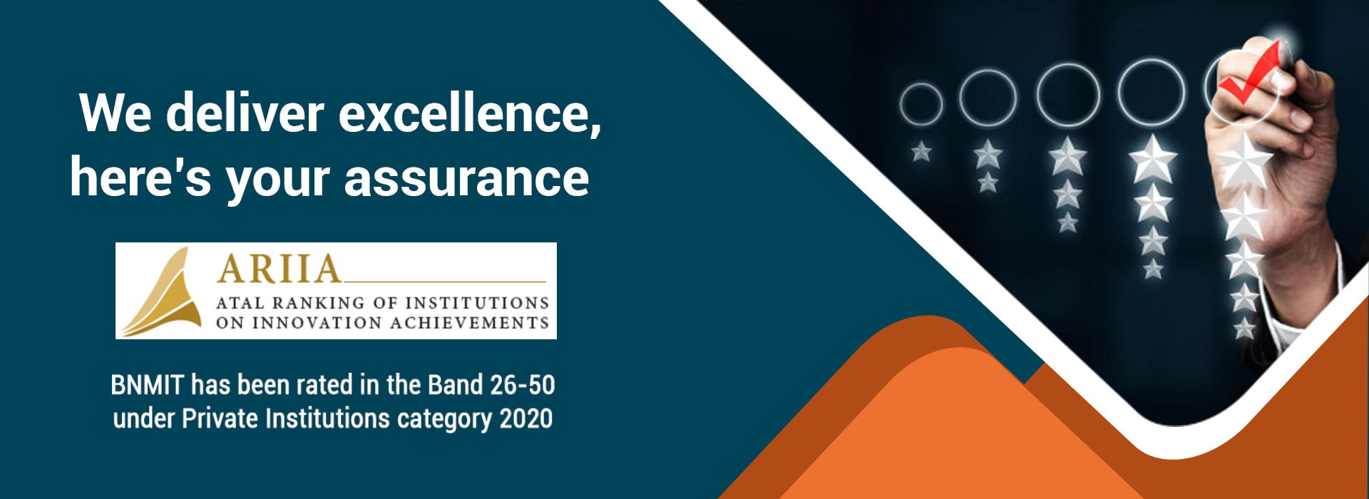BNMIT has been rated in the Band 26-50 under private institutions category 2020