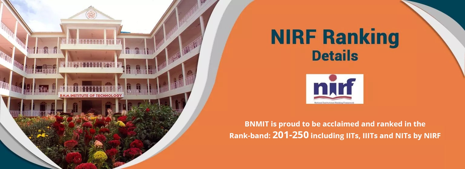 BNMIT get Ranked at 186 in the NIRF Ranking of MHRD, New Delhi